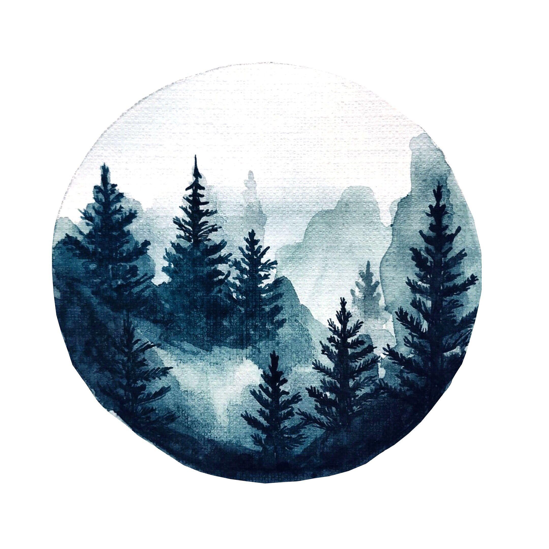 Scandinavian style forest illustration