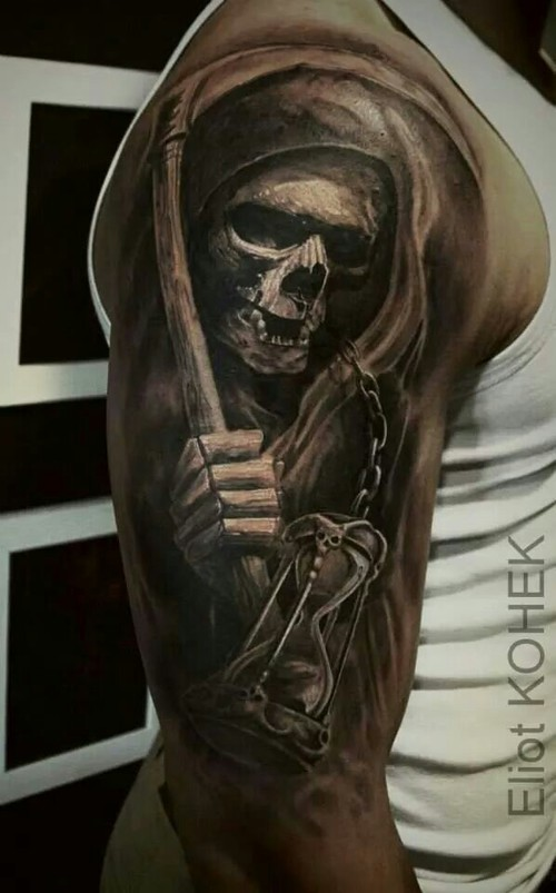 Grim Reaper Skull Tattoo Sleeve Drawings