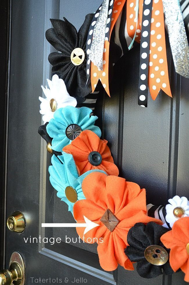Halloween Stripe and Felt Flower Wreath and FREE Printable Flower Template #feltflowertemplate LOVE this wreath, looks easy enough for me.  felt flower tutorial at tatertots and jelo! #feltflowertemplate Halloween Stripe and Felt Flower Wreath and FREE Printable Flower Template #feltflowertemplate LOVE this wreath, looks easy enough for me.  felt flower tutorial at tatertots and jelo! #feltflowertemplate Halloween Stripe and Felt Flower Wreath and FREE Printable Flower Template #feltflowertempla #feltflowertemplate