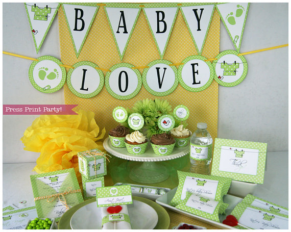 Baby Shower Decorations Printable Set Gender Neutral Green Love