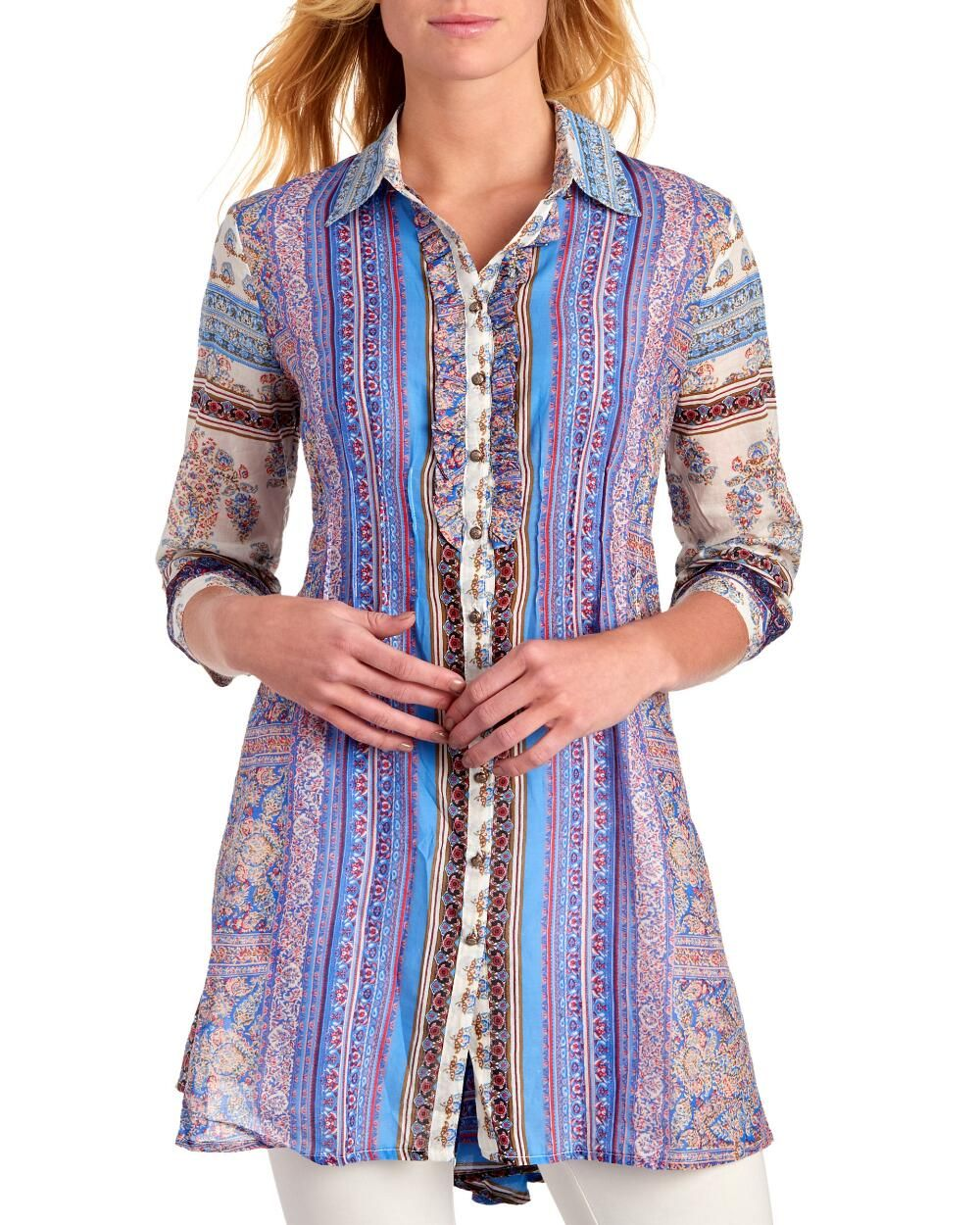 Mixed Stripe Button Front Tunic Tunics Tops Clothing Women Stein Mart Clothes For Women Clothes Casual Dress [ 1250 x 1000 Pixel ]