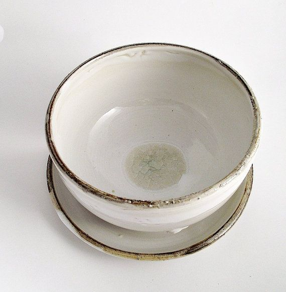 White Rustic Bowl and Plate  Stoneware grès Bowl by lofficina, €20.00