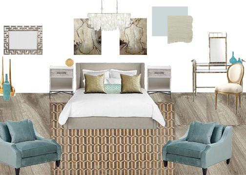 Chiclivingdesign.com spa theme bedroom moodboard. Aqua, neutrals.
