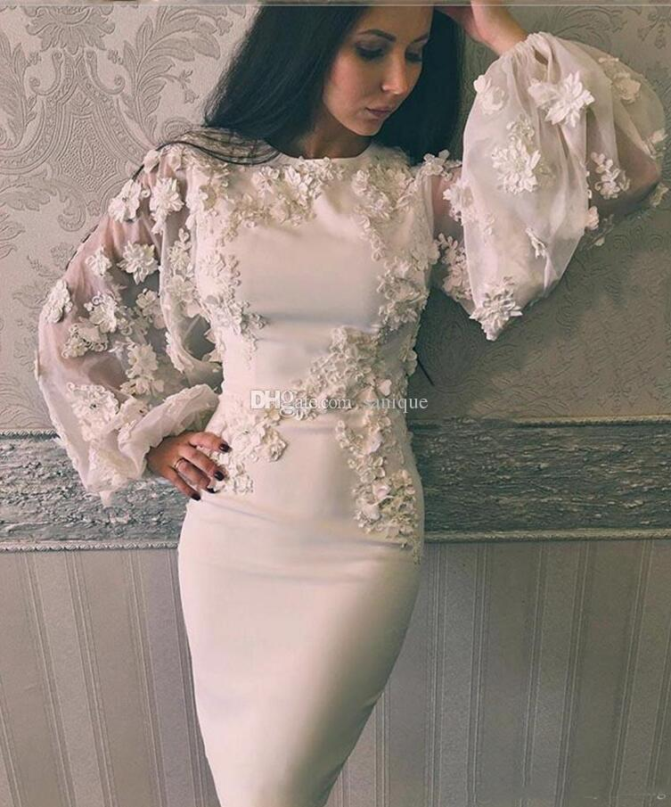 Sheath Prom Dresses with Jewel Neckline Long Illusion Puffy Sleeves Knee Length 3D Appliques Pearls Handmade Flowers Cocktail Gowns #backlesscocktaildress