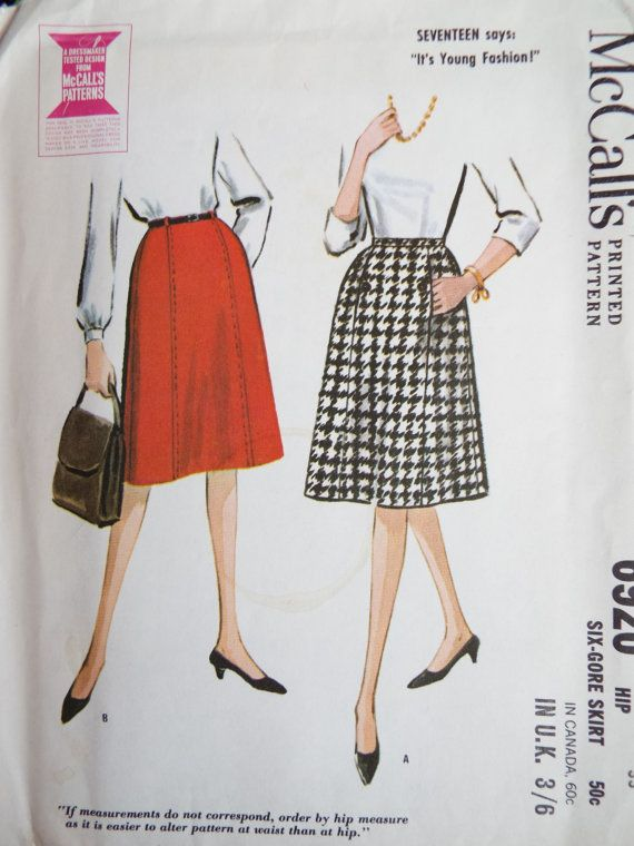 Vintage 1960s McCalls sewing pattern for a 6 gore skirt Slightly A ...