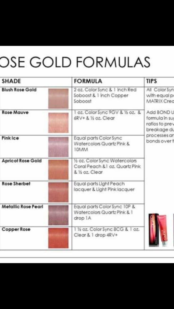 Rose Gold Matrix Formulas Matrix Hair Color Peach Hair Colors Hair Color Formulas