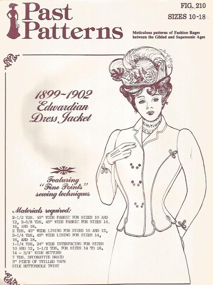 UNCUT! VINTAGE 1899-1902 EDWARDIAN DRESS JACKET PAST PATTERNS SEWING ...