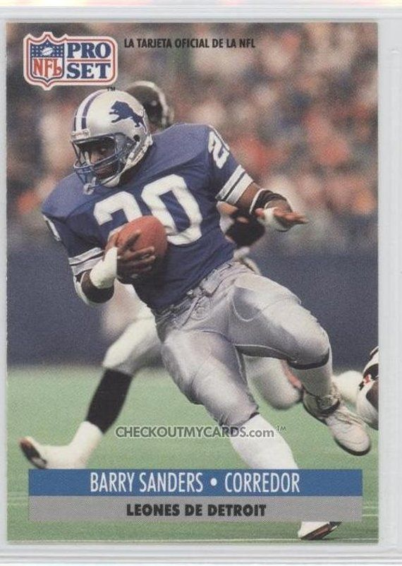 Rare Official Nfl Barry Sanders Card In Spanish Book Value 5 Dollars