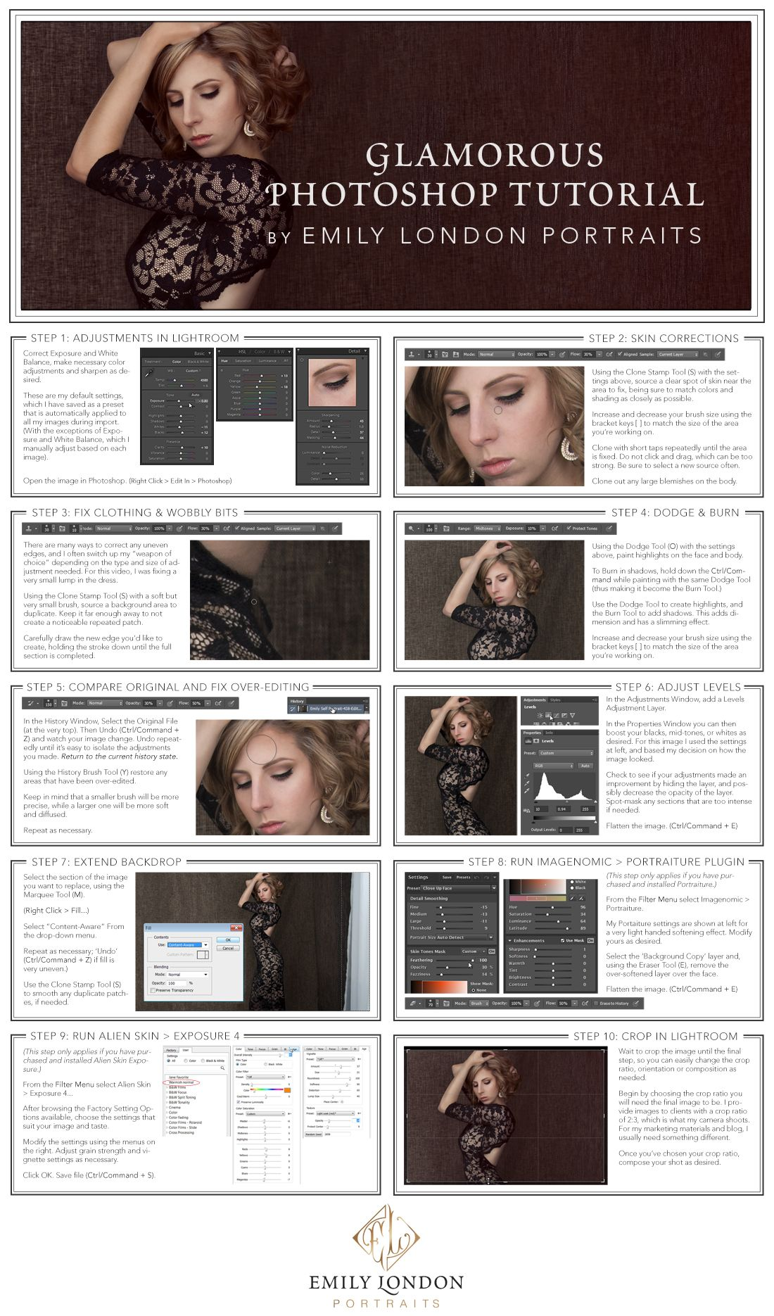 In this tutorial, Utah Glamor Portrait Photographer, Emily London, will teach how to edit a modern glamour portrait in Photoshop.