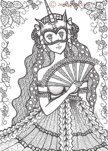 Original Zentangle Anime Mask Girl Drawing 5 quot x7 quot not ACEO