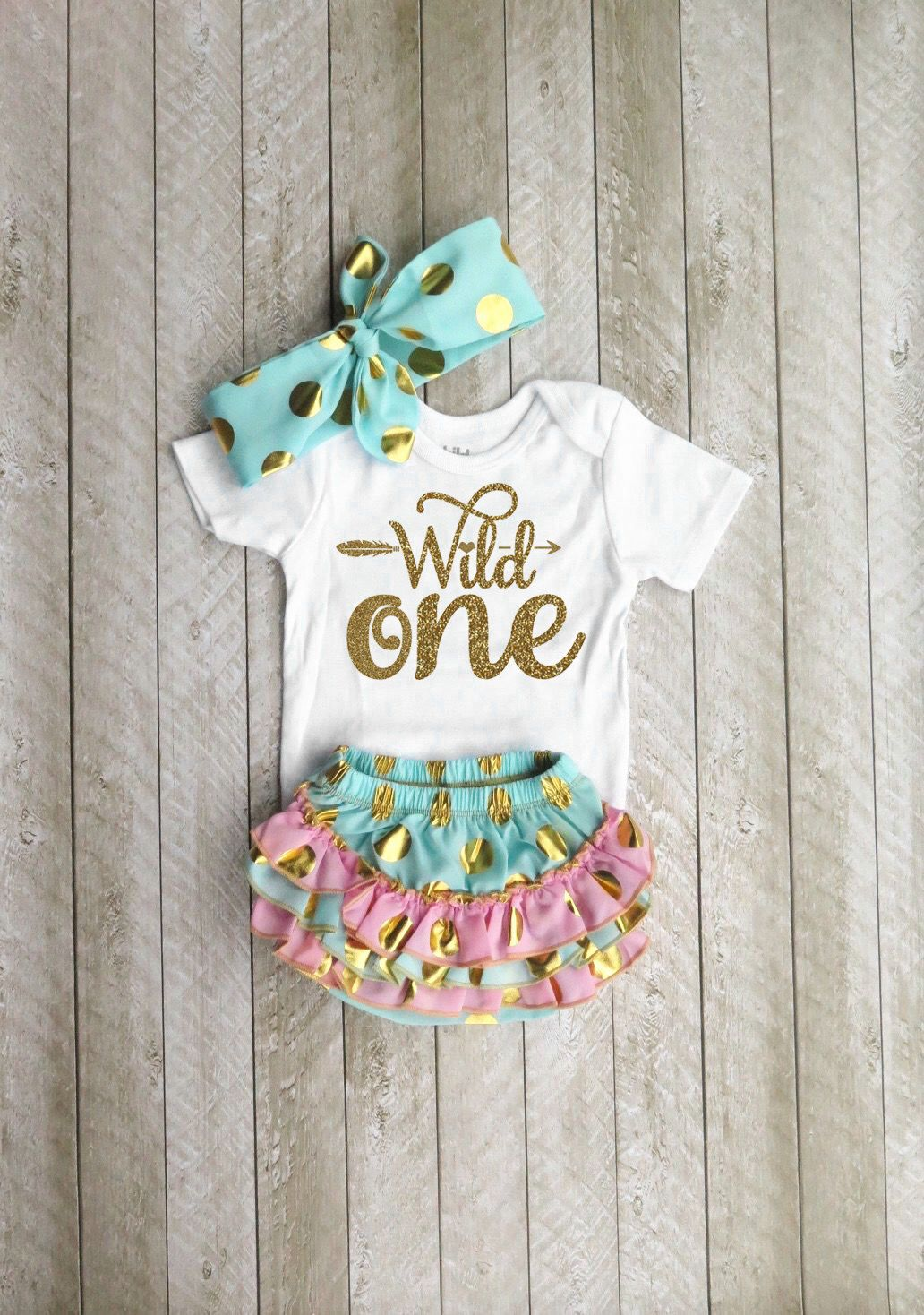 Wild One Wild One First Birthday Mint And Gold First Birthday Outfit One Year Old Outfit Girl ...