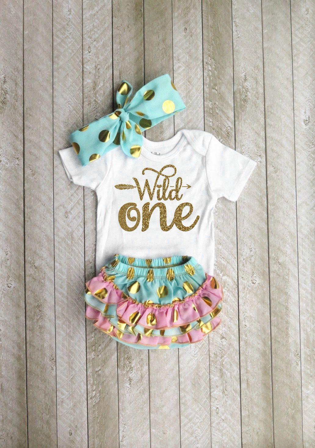 ddc0078f0 Wild one Wild one first birthday Mint and gold first birthday outfit One  year old outfit