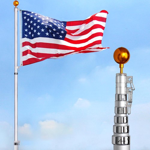 Yeshom 30 Ft Flag Pole Kit Telescopic Aluminum Flagpole 3 X5 Us Flag Ball Fly 2 Flags Silver In 2020 Flag Pole Kits Telescoping Flagpole Flag