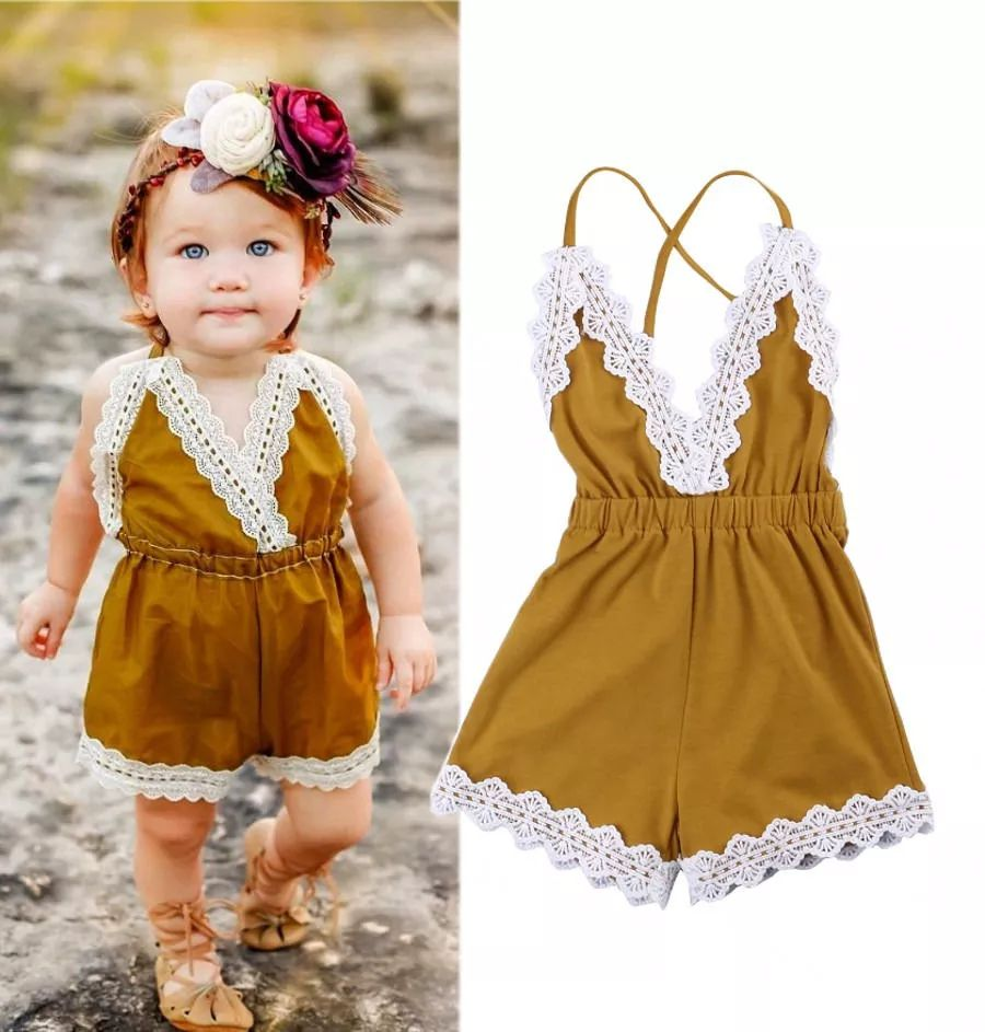 US $4.4 Cute Baby Girls Halter Lace Jumpsuit Kids Yellow V nest