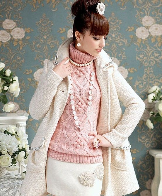 pastel pink turtle-neck sweaters, fashion thin pink lapel pullover ...