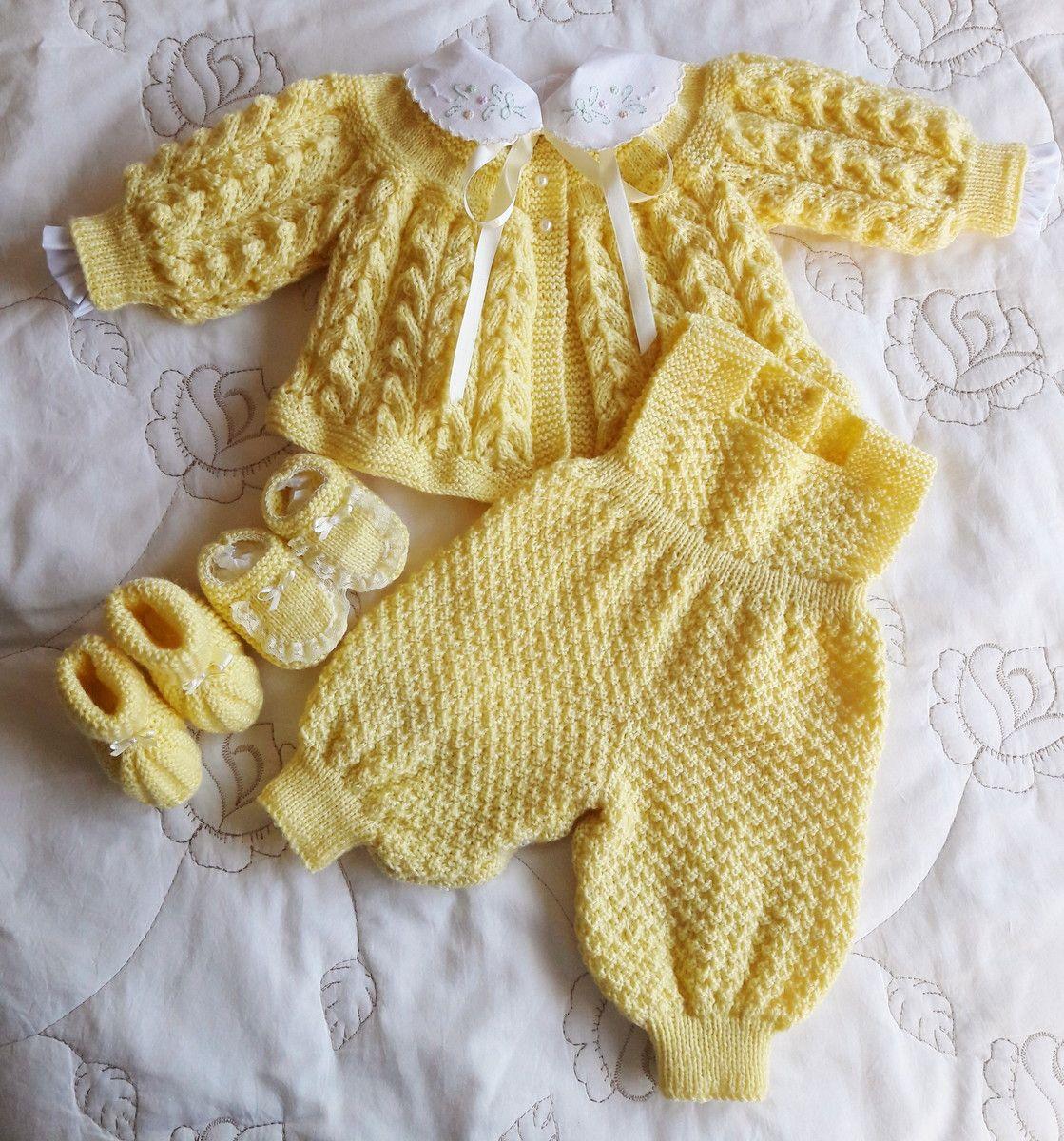 736f67af84 Conjunto em tricô feito a mão amarelo