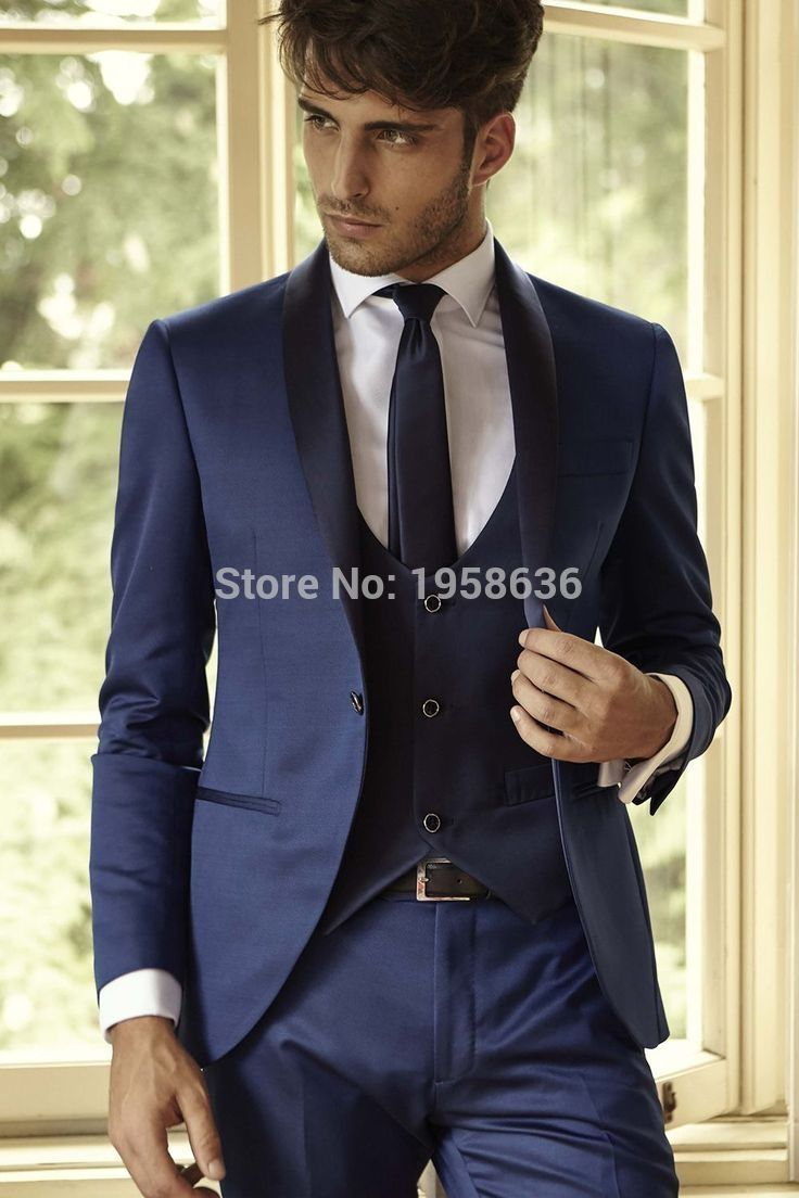 Fashionable One Button Navy Blue Groom Tuxedos Groomsmen Mens ...
