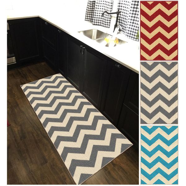 Chevron Zig Zag Non Slip Rubber Backed Runner Rug 2 X 6