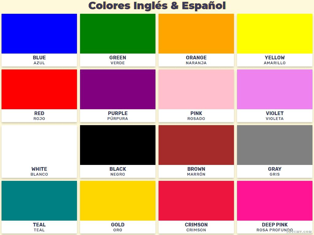 Vocabulario De Los Nombres De Los Colores En Ingl S Y Espa Ol En  # Muebles Definicion En Ingles