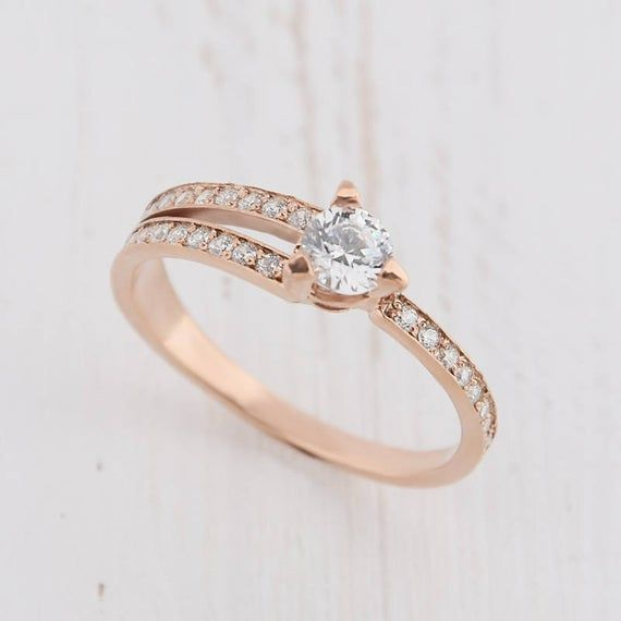Photo of Rose gold engagement ring, Art deco ring, Women promise ring, Anniversary ring, Antique ring gold, Geometric ring, White cz ring gold
