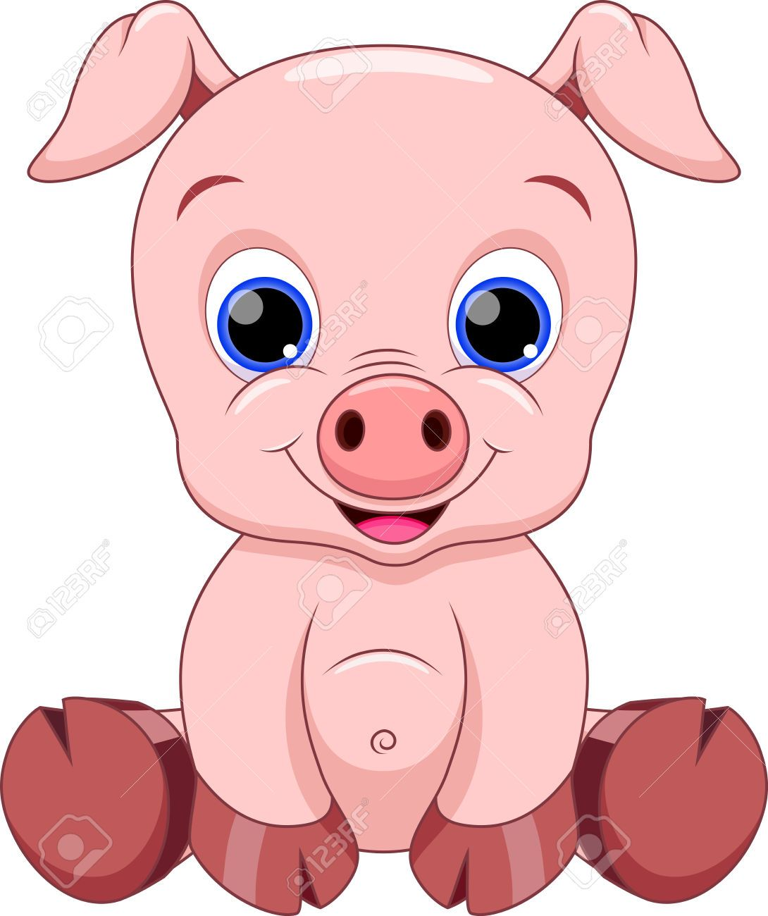 Cute Baby Pig Cartoon Royalty Free Cliparts, Vectors, And Stock ...