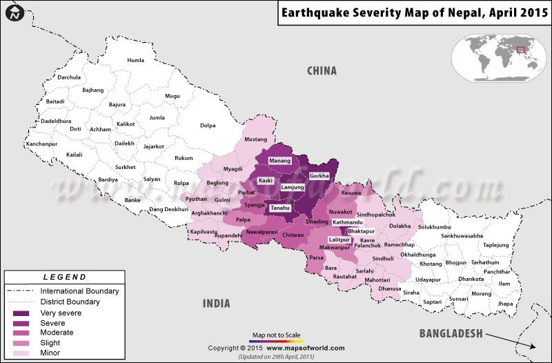 Map of nepal showing the district wise severity of recent map of nepal showing the district wise severity of recent earthquakes in terms of loss and damages incurred gumiabroncs Choice Image