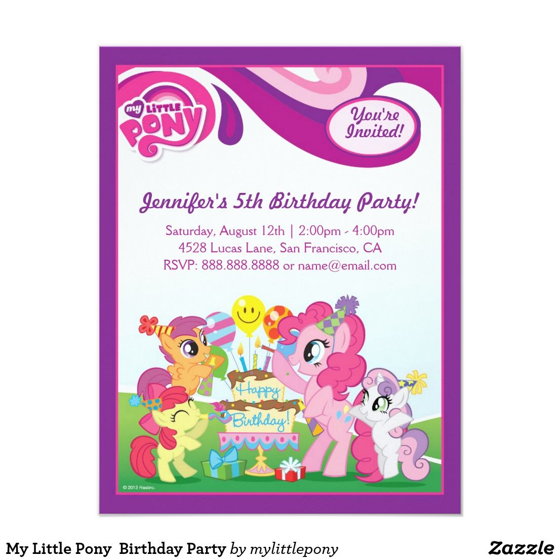My little pony birthday party card birthdays and party invitations my little pony birthday party filmwisefo Images