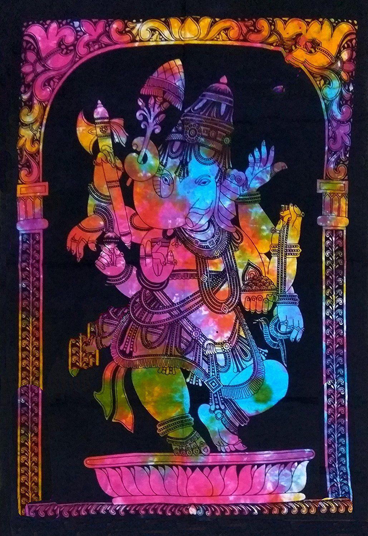 Shiva bedspread batik tapestry hand made india cotton boho hippie ganesha a9