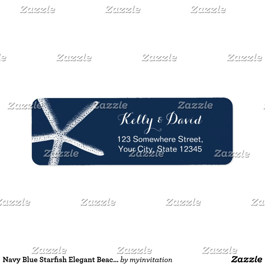 Navy Blue Starfish Elegant Beach Wedding Label | Wedding:Beach ...
