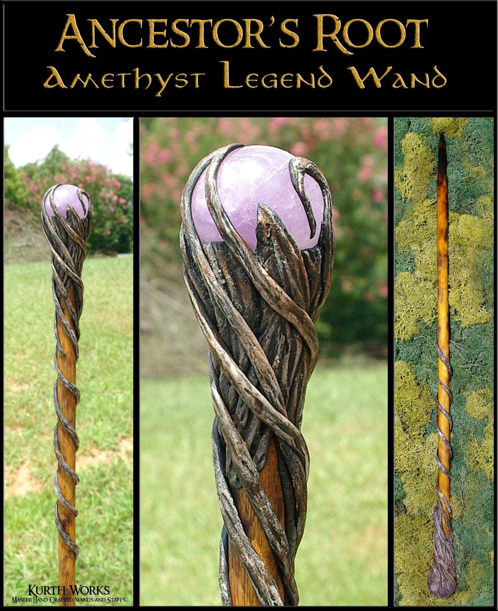 Wooden staff designs kurth works custom hand carved magic wizard wands - Ancestor S Root Amethyst Crystal Magic Wizard Wand