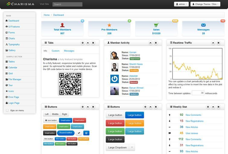20 Free Bootstrap Admin  Dashboard Templates Dashboard template