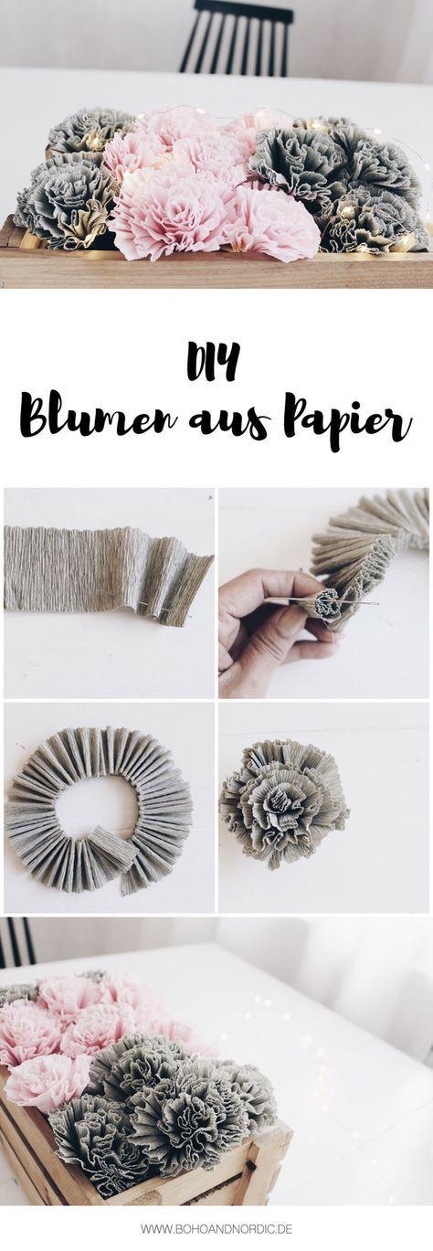 diy blumen aus krepppapier diy pinterest blumen aus papier selber basteln und sie ist. Black Bedroom Furniture Sets. Home Design Ideas