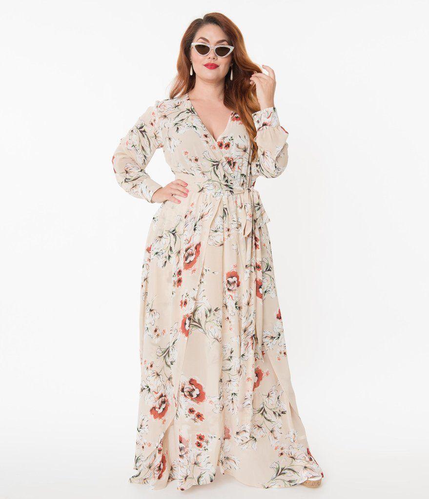 Unique Vintage Plus Size Light Tan Floral Farrah Maxi Dress Long Sleeve Floral Maxi Dress Plus Size Long Dresses Maxi Dress [ 1023 x 879 Pixel ]