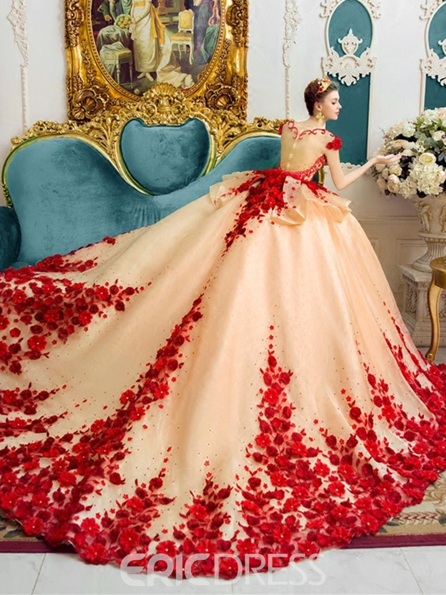 Amazing scoop ball gown color wedding dress in gowns