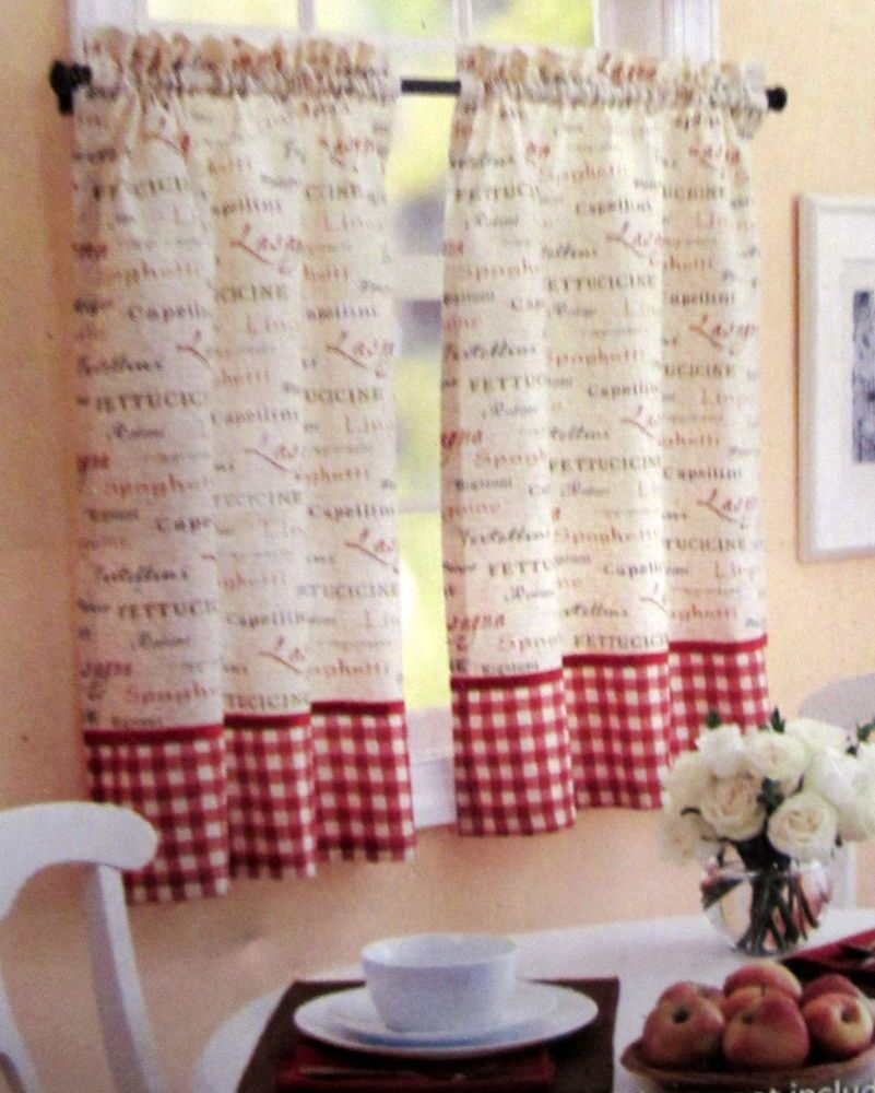 Italian Supper Pasta Chef 36L Tier Set Kitchen Curtains Red Check Border
