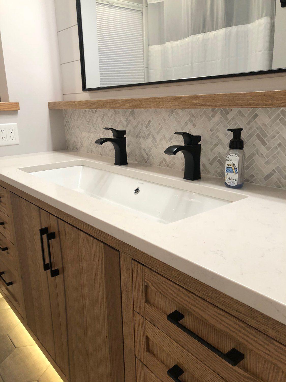 Rectangular White Ceramic Trough Undermount Sink Bathroom Sink Remodel Modern Bathroom Sink Trough Sink Bathroom [ 1500 x 1125 Pixel ]