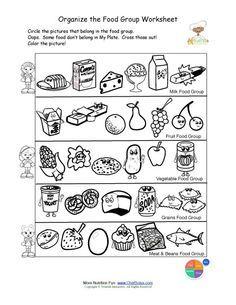 Free food groups printable nutrition education worksheet- Kids ...