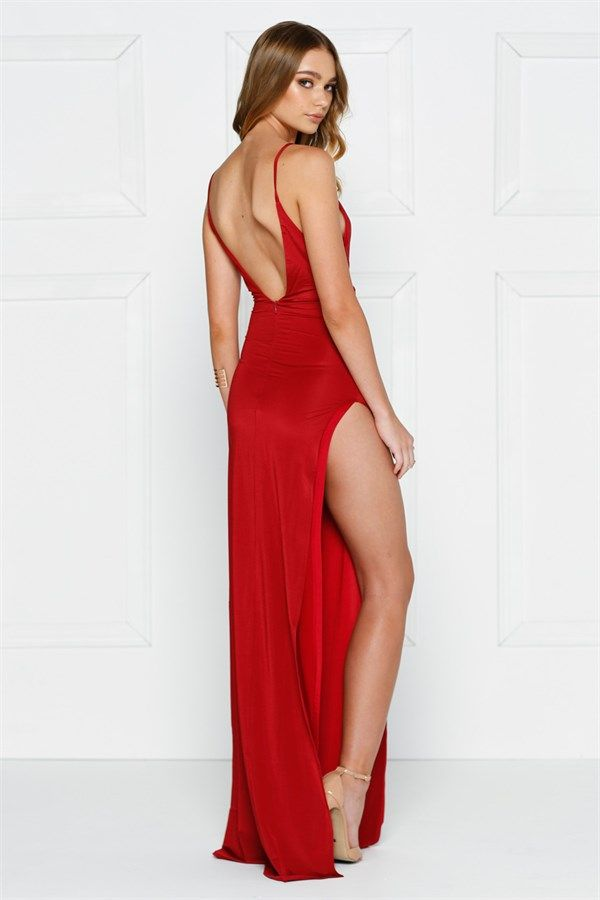Red Low Back Formal Gown Dress with Side Slit | Asian girls in 2018 ...