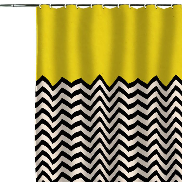 Elegant Graphic Half Chevron Shower Curtain; Cute, Just Not With The Mustard  Yellow. Perhaps