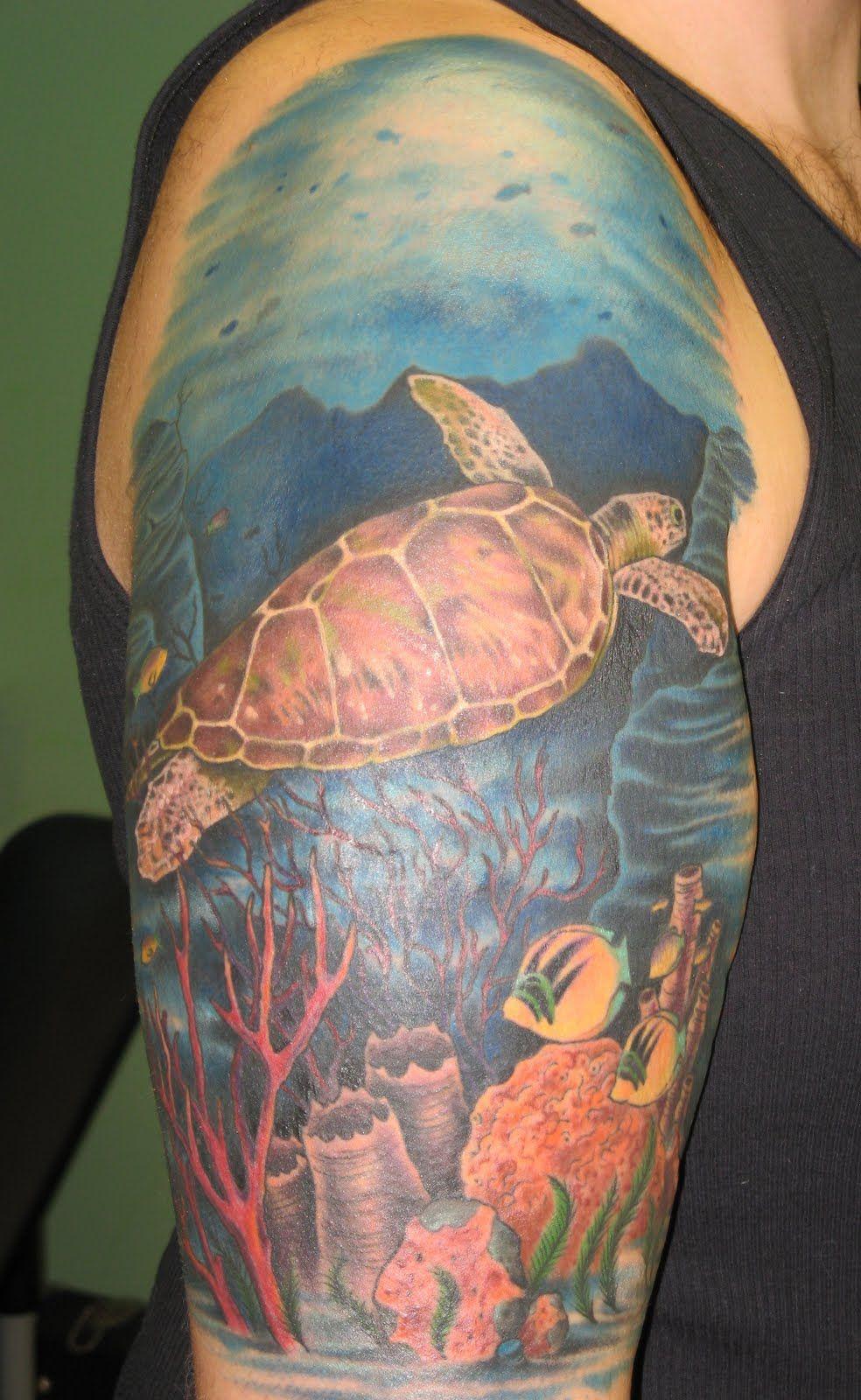 coral reef drawings for tattoos sea turtle ocean scene tattoo tattooideas pinterest. Black Bedroom Furniture Sets. Home Design Ideas
