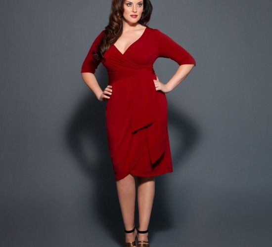 566fd0af5e40a Harlow Faux Wrap Plus Size Dress in Crimson Red