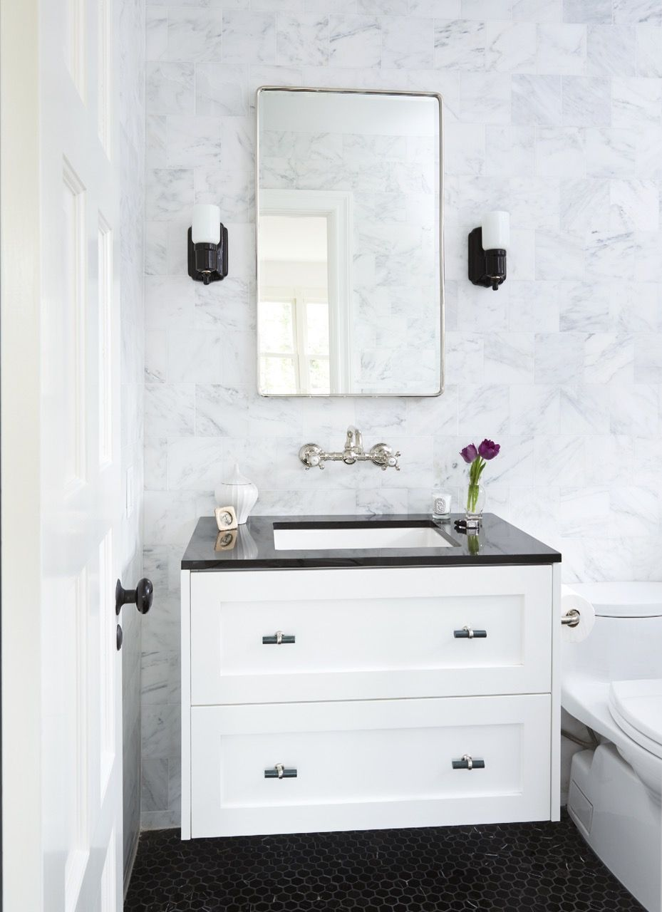 Bathroom   Jessica Whitney Gould Interiors  Rohl faucet  Ikea  hacked   vanity with. Bathroom   Jessica Whitney Gould Interiors  Rohl faucet  Ikea