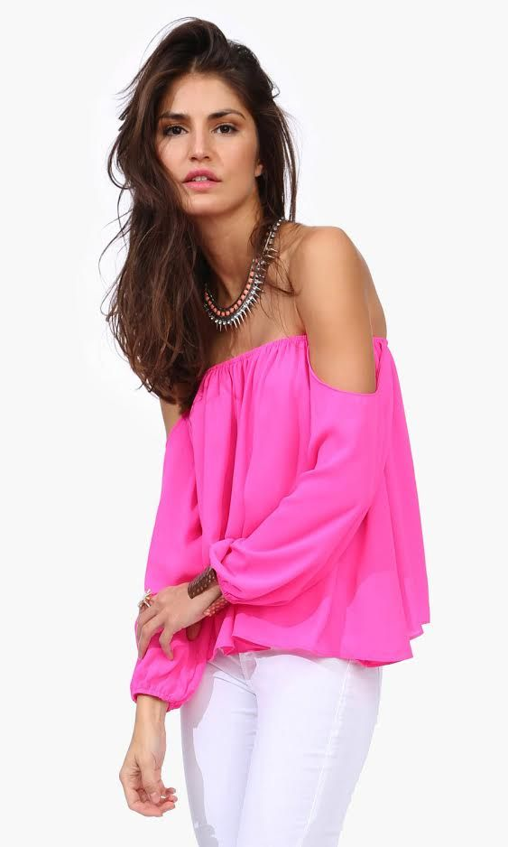 Bright Pink Off the Shoulder Top