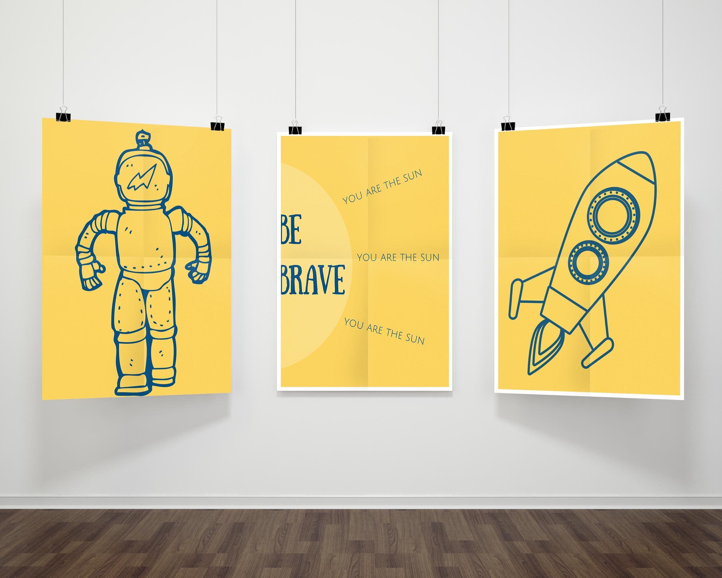 Set of 3 Space Theme Nursery Prints|Yellow Rocketship Be Brave You ...