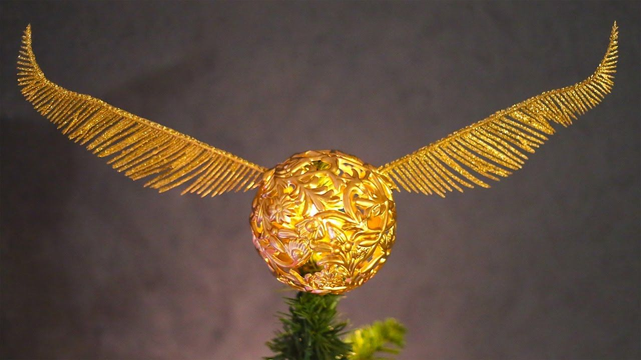 How To Make A Golden Snitch Tree Topper! Harry Potter
