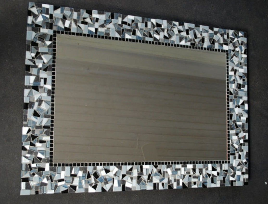 Bathroom Mirrors Amazon mosaic around bathroom mirror- get cheap, crushed tile pieces and