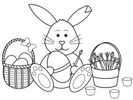 Easter Bunny With Eggs Clipart Black And White