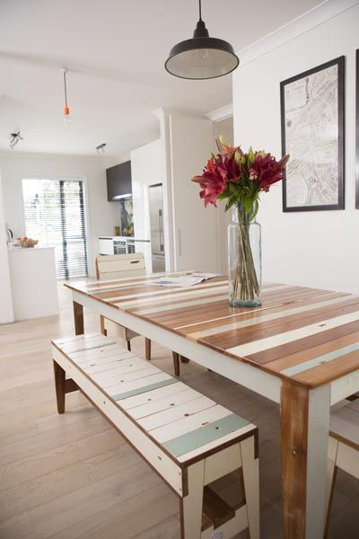 Awesome Weatherboard Table And Bench Made Out Of Waste Wood