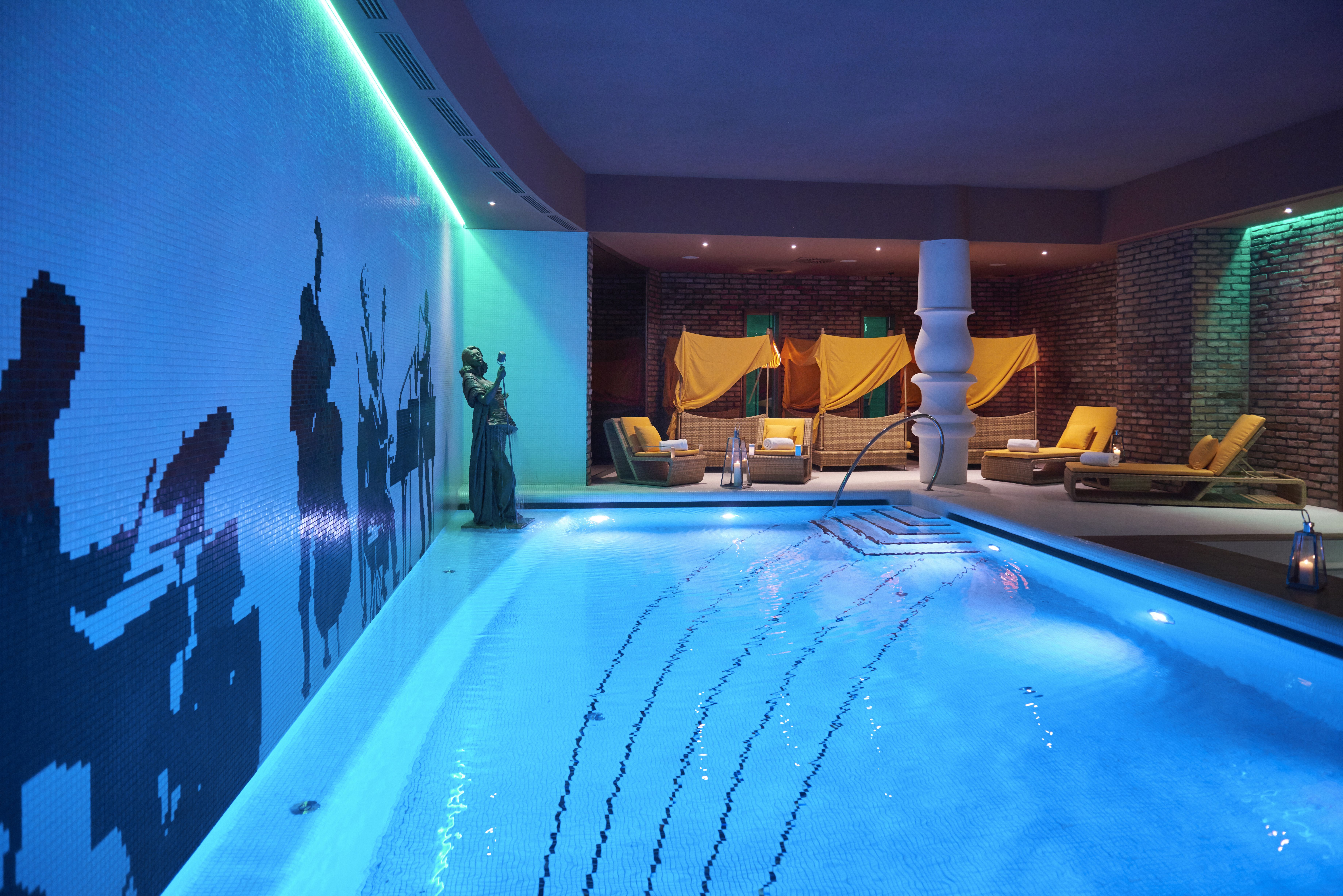 Indoor Pool At The Aria Hotel In Budapest Hungary Budapest Hotel Cool Pools Library Hotel