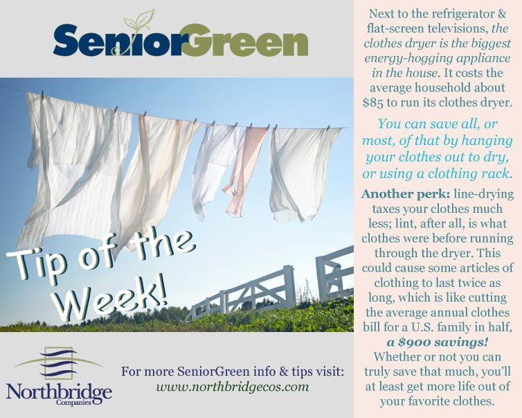go green, save money. take advantage of our beautiful weather and dry your clothes and sheets outside to cut costs of in-home dryers.